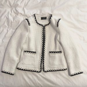 Chanel jacket tweed suit fall blazer white 38